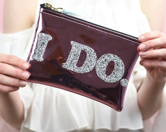 "Mirror Shine Sparkly ""I Do"" Bride Bag"