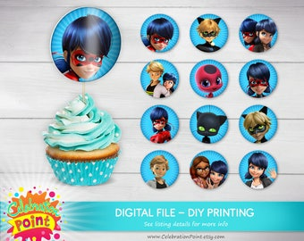 Miraculous Ladybug Cupcake Toppers, Miraculous ladybug birthday, Miraculous Ladybug party supplies - ONLY FILE