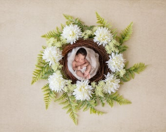 neutral fern flower wreath for Newborn photography digital background