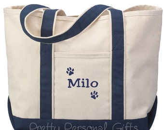 Personalized Dog Paw Tote with name, Dog Bag, Dog Tote Bag, Dog Print Bag, Dog Paw Print Bag with name - pet owner gift - 7 colors, Pet tote