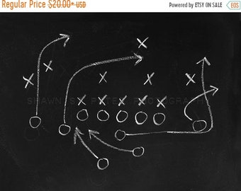 FLASH SALE til MIDNIGHT Chalkboard Football Play No. 1 Photo Print, Boys Room decor, Boys Nursery Ideas, Vintage Sports, Football prints,