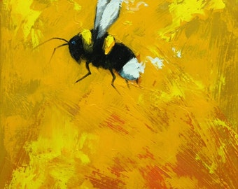 Bee painting 365 12x12 inch insect animal portrait original oil painting by Roz