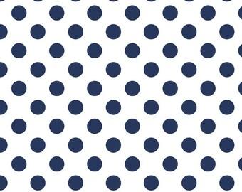 SALE Riley Blake Fabric Medium Dots Navy C490-21 NAVY