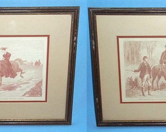 2 Vintage Framed Litho Prints From Charles Reade's A Terrible Temptation