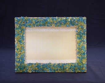 SALE 5in x 7in Picture Frame with Blue and Green Beads