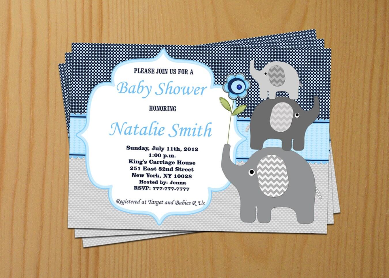 Elephant Baby Shower Invitation Boy Baby Shower invitations