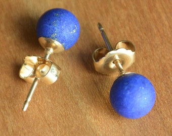 Natural Lapis Lazuli stud earrings, matte finish rich blue Lapis Lazuli stones, Gold-Filled or Sterling Silver posts and earbacks