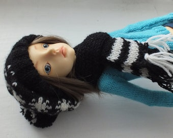 Handmade knitted BJD MSD wool hat and scarf set black and white