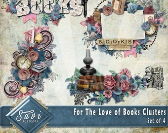 Digital Scrapbooking Clusters set of 4 For the Love of Books  premade embellishment png clusters to make immediate scrap page