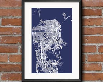 San Francisco Map Art Print – Blueprint / San Francisco Map | San Francisco Art | San Francisco Print | San Fran Map | SF Map | Bay Area Map