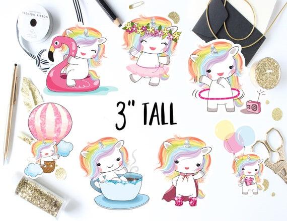 Kawaii unicorn die cut stickers unicorn decal laptop