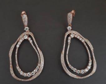 rose gold teardrop dangle drop earrings, white zirconia, 925 sterling silver