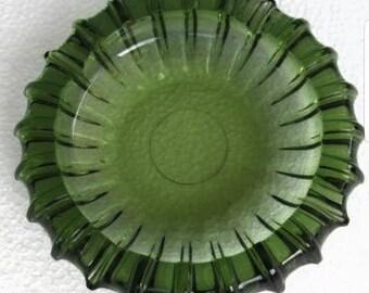 Vintage Blenko Emerald Green Large Heavy Mod Round Ashtray