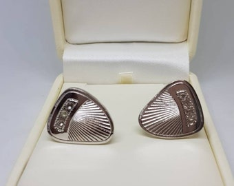 Vintage silver tone cufflinks vintage cuff links rhinestones groomsmen wedding gift for her birthday gift Dandies vintage cufflinks