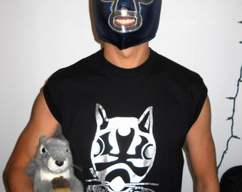 Mexican Wrestling Squirrels Paco sleeveless tank muscle tee (Size EXTRA LARGE)