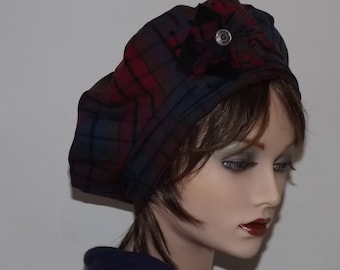 Ladies Red and Burgundy Beret, Fashion Plaid Beret, Fabric Beret