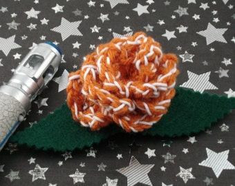 Donna Noble - Crocheted Rose Hair Barrette - Orange and White (SWG-HB-DWDN01)