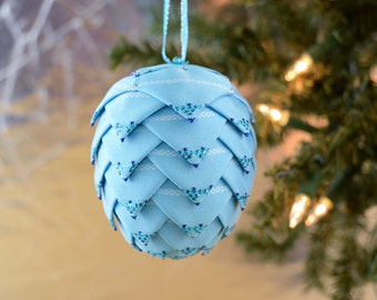Blue Christmas Ornament Folded Ribbon Pinecone Ball in Robins egg blue Unique tree trimming idea Gift for office exchange German inspired