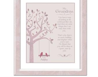 Grandmother Gift from Granddaughter - Nana Gift - Grandma Poem - Personalized Grandma Gift - Grandparents Gift