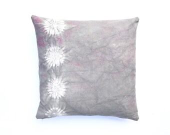 Sale: Grey Pillow Shibori Circles Gray Pillow Cover 18 x 18 Charcoal Grey Decorative Pillow Hand dyed Cushion Cover
