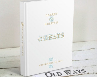 Elegant White Wedding Guest Book, Gold and Aqua Blue - Wedding Wishes Book - Traditional Hardcover Personalized Wedding Guest Book