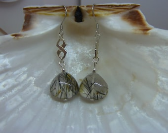 Genuine RUTILATED QUARTZ gemstone earrings