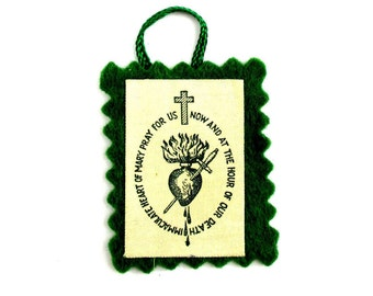 1950 Vintage Green Scapular Badge,Mid Century Catholic Mary Scapular,Immaculate Heart of Mary Scapular,Badge of Immaculate Heart of Mary