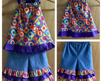 Hippie Rainbow Top and Denim Ruffle Capris, size 4t