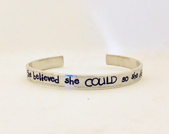 She believed she could so she did cuff bracelet personalized cuff bracelet copper bracelet gold bracelet silver bracelet rose gold sale