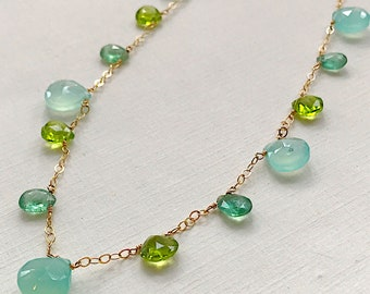 Seascapes Necklace Kyanite, Peridot, Chalcedony