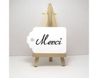 Merci Tags, French Tags, Gift Tags, Favor Tags, Thank You Tags,  Ivory Merci Tags, White Merci Tags, Thank You Gift Tags, Merci Gift Tags