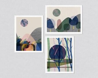 Wall art set, 3 prints set, set of 3 prints, art set, set of 3 wall art, print set, art prints, modern art, abstract art, landscapes, giclee