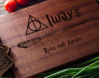 Harry Potter Personalized Cutting Board Personalized Custom Cutting Board Wedding Gift Cutting Board Deathly hallows Harry Potter Always
