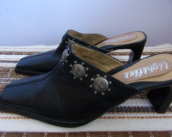 Vintage Women's Shoes/Black Genuine Leather Sandals/Summer Leather Shoes/Festival Shoes/With Rivets/Heel Shoes/Made in Brazil/Size EUR 38,5