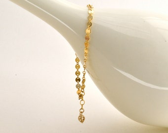 Golden Disc Bracelet, Gold Filled Bracelet, Delicate, Bridesmaid Gift (0161B)