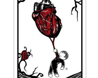 Heart Strings - GingerDead Goth /Alt Greeting Cards - Valentine / Anti-Valentine / Love - Single Card w/ Envelope