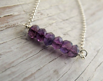 Birthstone Necklace, Amethyst Bar Necklace, Layering Necklace, February birthday, Sterling Silver
