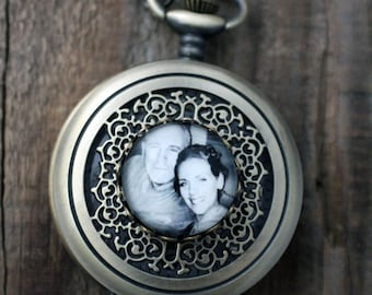 Custom Pocket Watch - Personalized Bronze Photo Pocket Watch - Customized with Your Photograph - Gift for Dad, Husband, Groomsmen, Grandpa