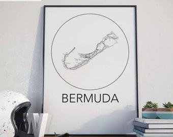 Bermuda Minimalist City Map Print