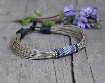Nautical sailing bracelet - Mens bracelet - Linen bracelet for men blue and navy - Mens jewelry for him - Gift for boyfriend - Organic gift