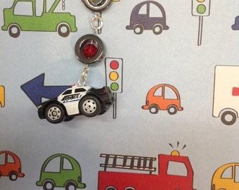 Black Police car, cell phone charm, phone charm, headphone jack charm, dust plug, dust plug charm, iphone charm, police, cop car, ipad