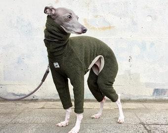 Italian Greyhound Clothing, Fleece Jammies,Jumpsuit,Romper,Onesie [Dark Green]