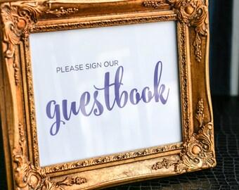 "Calligraphy Guestbook Sign, Custom Wedding Sign, Fun, Playful, Modern Wedding, Purple Wedding Sign - ""Calligraphy Chic"" Guestbook Sign"