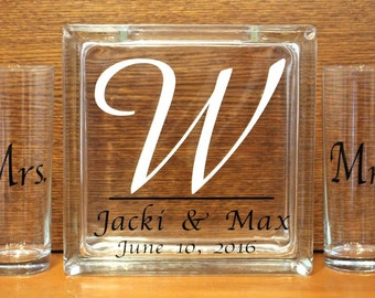 Unity Sand Ceremony Glass Containers - Personalized Glass Block with Names and Last Initial -  Side vessels with Mr and Mrs - Blended Family