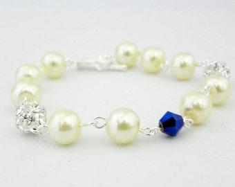Ivory Pearl Bridesmaid Bracelet Set of 7 Blue Crystal and Pearl Bracelet, Pearl Bridesmaid Jewelry, Rhinestone Pearl Bracelet, Beach Wedding