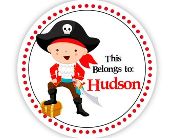 Label Name Stickers - Black and Red Polka Dots, Little Pirate Boy Personalized Name Tag Stickers - Round Tags - Back to School Name Labels