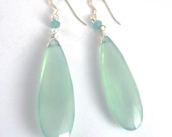 Teal Chalcedony Earrings, Chalcedony Drop Earrings, Blue Earrings, Teal Earrings, Bridesmaid Earrings, Teardrop Earrings, Aqua