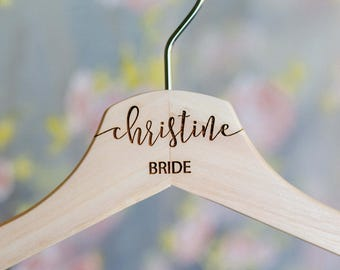 Personalized Wedding Hanger - Hanger for Wedding Dress - Wedding Hanger - Wooden Engraved Hanger - Bridal Dress Hanger - Name Hangers HG100