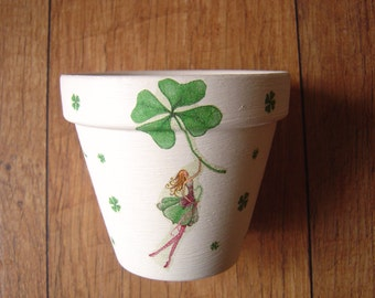 Bespoke Hand Painted and Decoupaged Decorative Flower Pots, Planters, St Patricks Day, St Paddy's Day, Made in Ireland