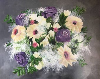 A Flower Bouquet - Original Acrylic painting on Canvas